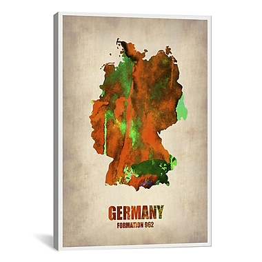 iCanvas Germany Watercolor Map Print by Naxart Graphic Art on Canvas; 61'' H x 41'' W x 1.5'' D