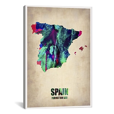iCanvas Spain Watercolor Map by Naxart Graphic Art on Wrapped Canvas; 26'' H x 18'' W x 0.75'' D