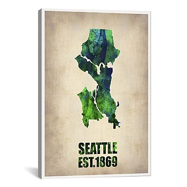 iCanvas Seattle Watercolor Map by Naxart Graphic Art on Wrapped Canvas; 61'' H x 41'' W x 1.5'' D