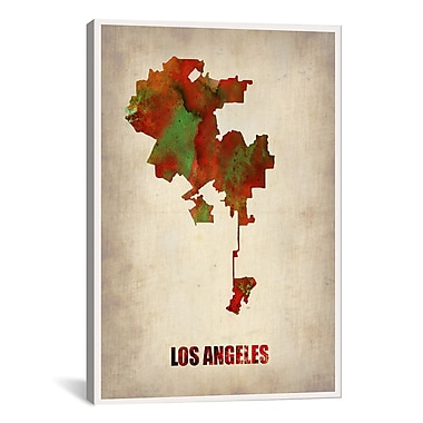 iCanvas Los Angeles Watercolor Map by Naxart Graphic Art on Canvas; 18'' H x 12'' W x 0.75'' D