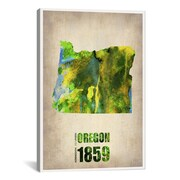 iCanvas Oregon Watercolor Map by Naxart Graphic Art on Canvas; 26'' H x 18'' W x 0.75'' D