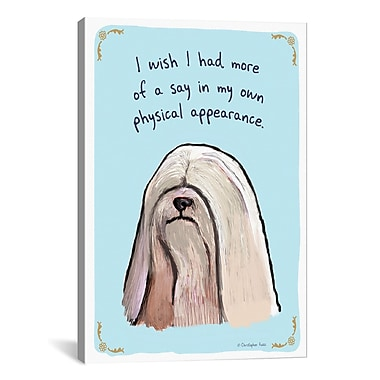 iCanvas Tiny Confessions Sad Lhasa Apso by Christopher Rozzi Painting Print on Wrapped Canvas
