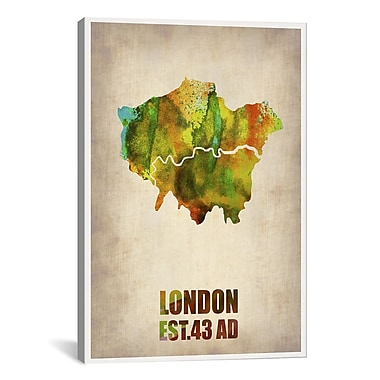 iCanvas London Watercolor Map I by Naxart Graphic Art on Wrapped Canvas; 60'' H x 40'' W x 1.5'' D