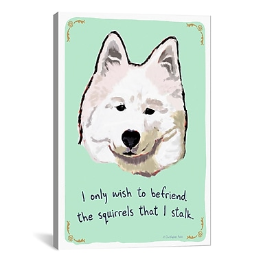 iCanvas Tiny Confessions Samoyed Confessions by Christopher Rozzi Painting Print on Wrapped Canvas