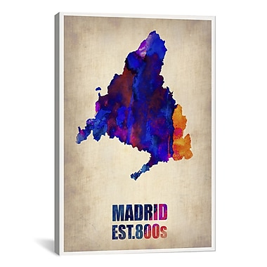 iCanvas Madrid Watercolor Map by Naxart Graphic Art on Wrapped Canvas; 40'' H x 26'' W x 1.5'' D