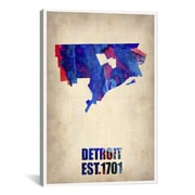iCanvas Detroit Watercolor Map by Naxart Graphic Art on Wrapped Canvas; 26'' H x 18'' W x 0.75'' D
