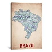 iCanvas American Flat Brazil Graphic Art on Canvas; 18'' H x 12'' W x 0.75'' D