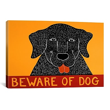 iCanvas Beware of Dog Black by Stephen Huneck Painting Print on Wrapped Canvas