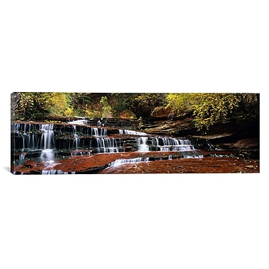 iCanvas Panoramic Waterfall in a Forest Photographic Print on Wrapped Canvas