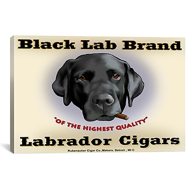 iCanvas Brian Rubenacker Black Lab Cigar Graphic Art on Wrapped Canvas; 12'' H x 18'' W x 0.75'' D