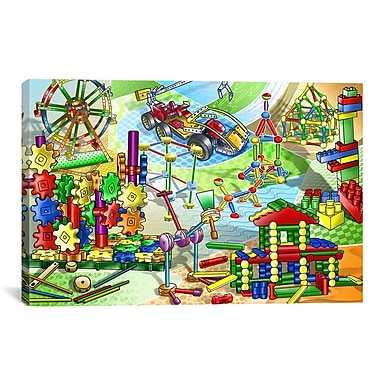iCanvas Construction Toys Children Painting Print on Canvas; 12'' H x 18'' W x 1.5'' D