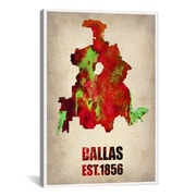 iCanvas Dallas Watercolor Map by Naxart Graphic Art on Canvas; 18'' H x 12'' W x 0.75'' D