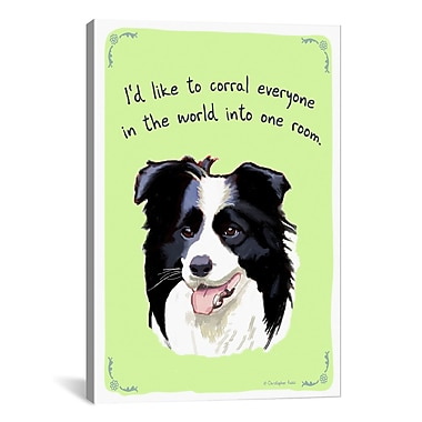 iCanvas Tiny Confessions Border Collie by Christopher Rozzi Painting Print on Wrapped Canvas