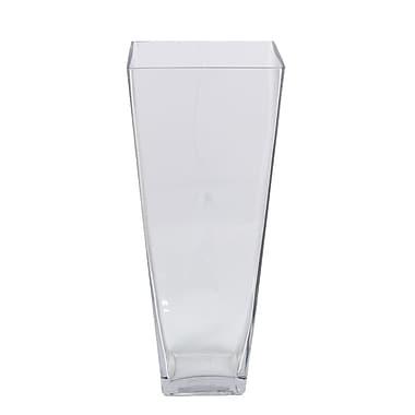 Entrada Square Glass Vase; 16'' H x 6.5'' W x 6.5'' D