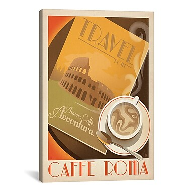 iCanvas 'Caff Roma' by Anderson Design Group Graphic Art on Canvas; 40'' H x 26'' W x 0.75'' D