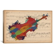 iCanvas Music Instrument Multi-Color Cello on Music Sheet #2 Graphic Art on Wrapped Canvas