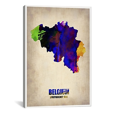 iCanvas Naxart Belgium Watercolor Map by Naxart Graphic Art on Wrapped Canvas