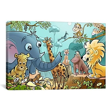 iCanvas Jungle Cartoon Animals Children Art Graphic Art on Wrapped Canvas; 40'' H x 60'' W x 1.5'' D