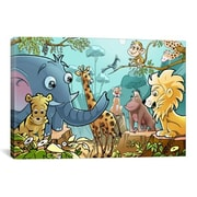 iCanvas Jungle Cartoon Animals Children Art Canvas Print Wall Art; 12'' H x 18'' W x 0.75'' D