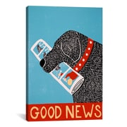 iCanvas Good News Dog Black Canvas Print Wall Art; 18'' H x 12'' W x 0.75'' D