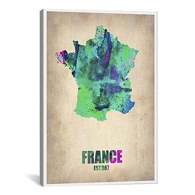 iCanvas France Watercolor Map Print by Naxart Graphic Art on Canvas; 26'' H x 18'' W x 0.75'' D