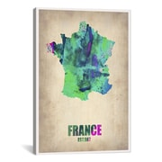 iCanvas France Watercolor Map Print by Naxart Graphic Art on Canvas; 41'' H x 27'' W x 1.5'' D