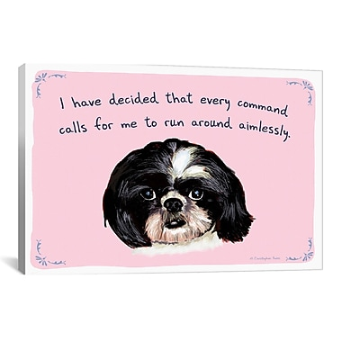 iCanvas Tiny Confessions Shih Tzu Commands by Christopher Rozzi Painting Print on Wrapped Canvas