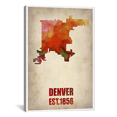 iCanvas Denver Watercolor Map by Naxart Graphic Art on Wrapped Canvas; 40'' H x 26'' W x 0.75'' D
