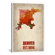 iCanvas Denver Watercolor Map by Naxart Graphic Art on Wrapped Canvas; 61'' H x 41'' W x 1.5'' D
