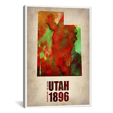 iCanvas Utah Watercolor Map by Naxart Graphic Art on Wrapped Canvas; 26'' H x 18'' W x 0.75'' D