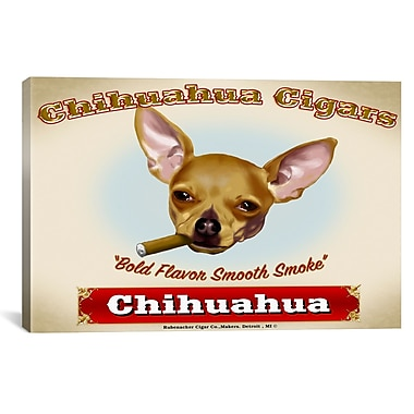 iCanvas Chihuahua Cigar by Brian Rubenacker Graphic Art on Wrapped Canvas; 27'' H x 41'' W x 1.5'' D