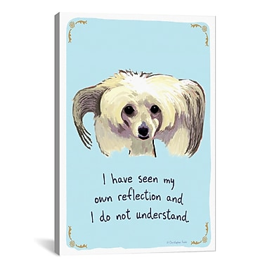 Tiny Confessions Confused Chinese Crested by Christopher Rozzi Painting Print on Wrapped Canvas