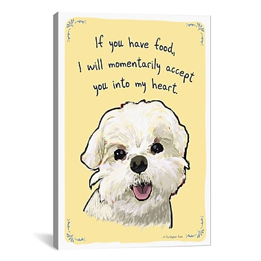 iCanvas Tiny Confessions Food Bribing Maltese by Christopher Rozzi Painting Print on Wrapped Canvas