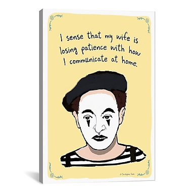 iCanvas Tiny Confessions Mime Problems by Christopher Rozzi Graphic Art on Wrapped Canvas