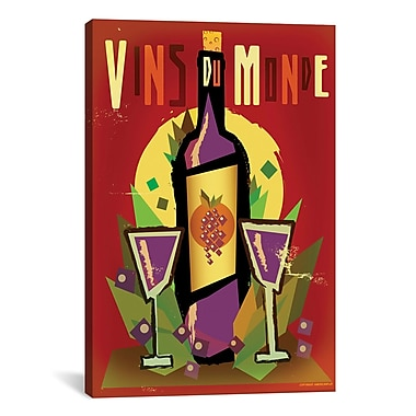 iCanvas Vins Du Monde Graphic Art on Wrapped Canvas; 40'' H x 26'' W x 0.75'' D