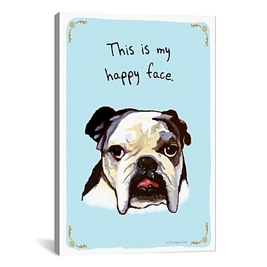 iCanvas Tiny Confessions Ecstatic Bulldog by Christopher Rozzi Painting Print on Canvas