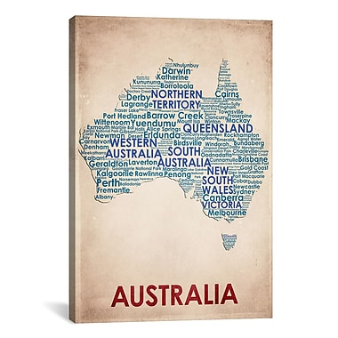 iCanvas American Flat Australia Graphic Art on Wrapped Canvas; 41'' H x 27'' W x 1.5'' D