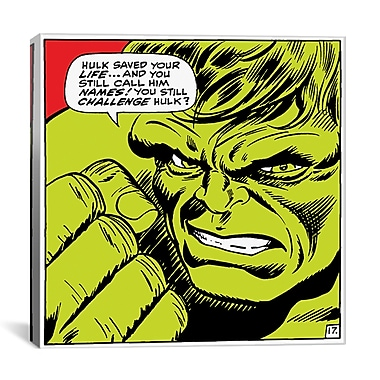 iCanvas Marvel Comics Book Hulk Art Panel G Graphic Art on Canvas; 26'' H x 26'' W x 0.75'' D