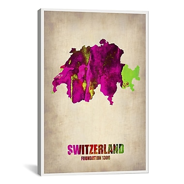 iCanvas Switzerland Watercolor Map by Naxart Graphic Art on Canvas; 18'' H x 12'' W x 0.75'' D