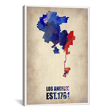 iCanvas Los Angeles Watercolor Map I by Naxart Graphic Art on Canvas; 60'' H x 40'' W x 1.5'' D