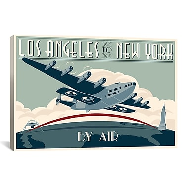 iCanvas La to Ny Zazzle #2 by Steve Thomas Vintage Advertisement on Wrapped Canvas