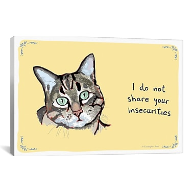 iCanvas Tiny Confessions Confident Kitty by Christopher Rozzi Painting Print on Wrapped Canvas