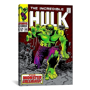 iCanvas Marvel Comics Hulk Issue Cover Graphic Art on Wrapped Canvas; 40'' H x 26'' W x 0.75'' D