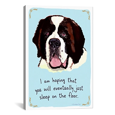 iCanvas Tiny Confessions Saint Bernard by Christopher Rozzi Painting Print on Wrapped Canvas