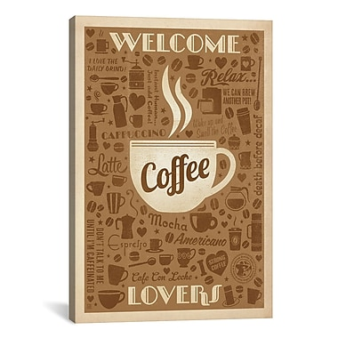iCanvas Anderson Design Group COF Coffee Pattern Graphic Art on Wrapped Canvas