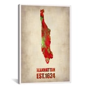 iCanvas Manhattan Watercolor Map by Naxart Graphic Art on Canvas; 60'' H x 40'' W x 1.5'' D