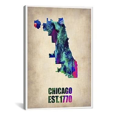 iCanvas Chicago Watercolor Map by Naxart Graphic Art on Wrapped Canvas; 61'' H x 41'' W x 1.5'' D