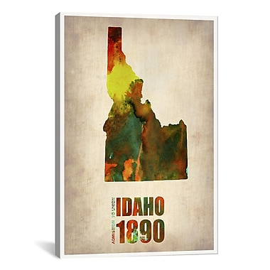 iCanvas Idaho Watercolor Map by Naxart Print Graphic Art on Canvas; 40'' H x 26'' W x 0.75'' D