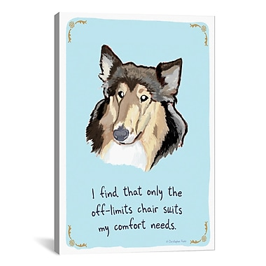 iCanvas Tiny Confessions Obedient Collie by Christopher Rozzi Graphic Art on Wrapped Canvas