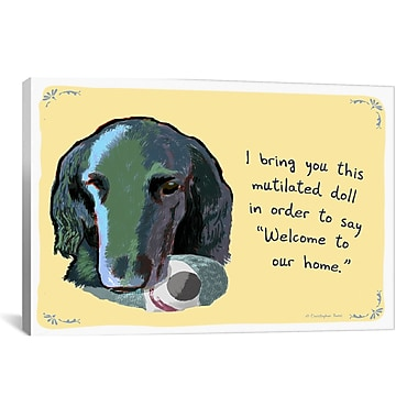 Tiny Confessions Welcoming Flat Coated Retriever by Christopher Rozzi Graphic Art on Wrapped Canvas
